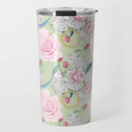 Shabby Chic Bluebirds and Roses Travel Mug