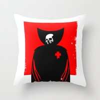 death Throw Pillows featuring death by dann matthews