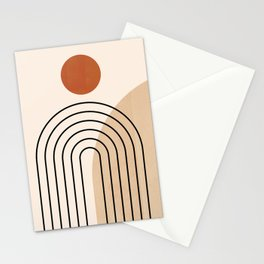 Abstraction_NEW_SUN_DAWN_MOUNTAINS_LINE_POP_ART_008B Stationery Cards