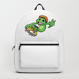 Frog as Inline Skater with Inline Skates and Helm Backpack