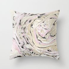 Pink and gold marble Throw Pillow