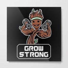 GROOT GROW STRONG GALAXY GYM FITNESS MASHUP Metal Print