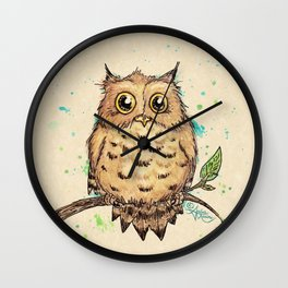 """""""Hoo, Me?"""" Baby Owl Watercolor & Ink Illustration by Amber Marine (Copyright 2019) Wall Clock"""
