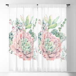 Pink Succulent by Nature Magick Blackout Curtain
