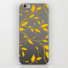 FLOWERY VINES | grey yellow iPhone Skin