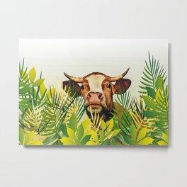 Brown Cow Jungle Leaf Metal Print