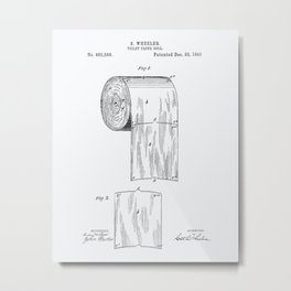 Toilet Paper Roll 1891 Patent Art Illustration Whitepaper Metal Print
