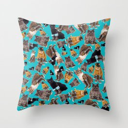 Tough Cats on Aqua Throw Pillow