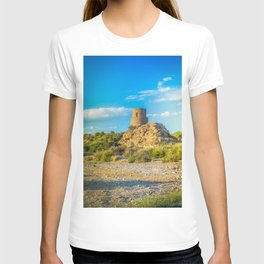 Ancient building of stone over blue cloudy sky, Spain T-shirt