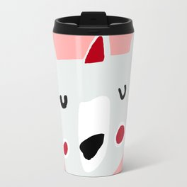 Cute holiday bear pink Travel Mug