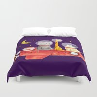 bruno mars Duvet Covers featuring Let's All Go To Mars by Picomodi