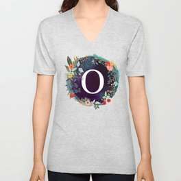 Personalized Monogram Initial Letter O Floral Wreath Artwork Unisex V-Neck