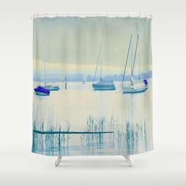 Sailing in soft blue Shower Curtain