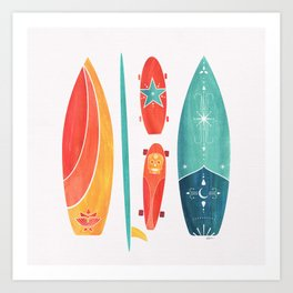 Surfboard Watercolor ~ Surf and Skate Art Print