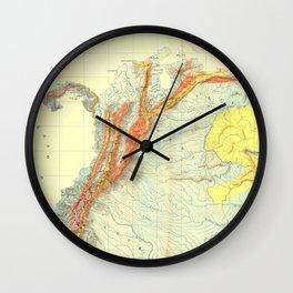 Vintage Geological Map of Columbia, Venezuela & Ecuador Wall Clock