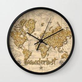 world map wanderlust gold Wall Clock