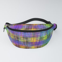 plaid pattern abstract texture in purple yellow green Fanny Pack