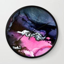 Pink and Navy Mixed Media Painting Wall Clock