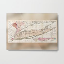 Long Island New York 1842 Mather Map Metal Print