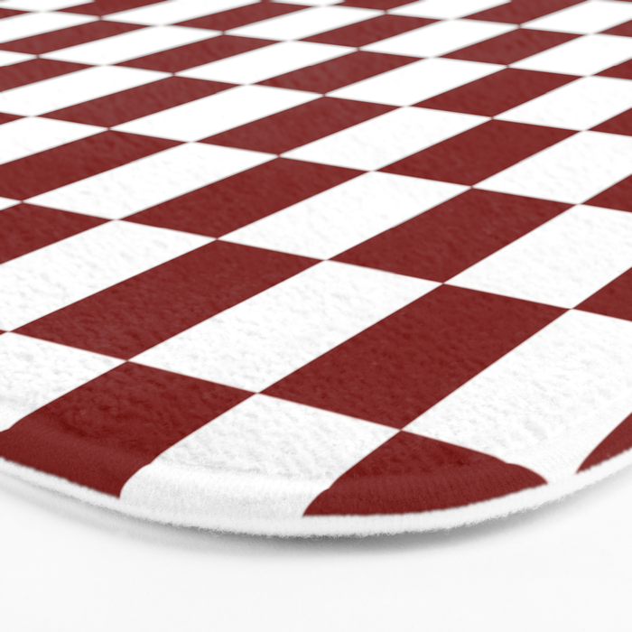 Vintage New England Shaker Barn Red and White Milk Paint Jumbo Square Checker Pattern Bath Mat