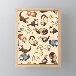 Ferrets in cream Framed Mini Art Print