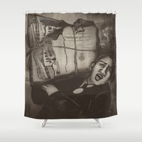 newspaper Shower Curtains featuring Newspaper Boy by cadore