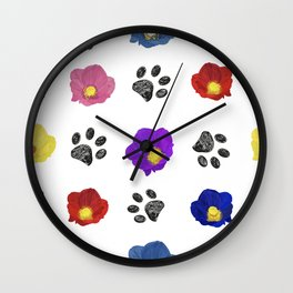 Primulaceae Colorful Flowers and Hand Drawn Paw Print Pattern Wall Clock