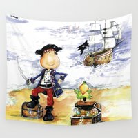 pirate ship Wall Tapestries featuring Pirate by LolMalone