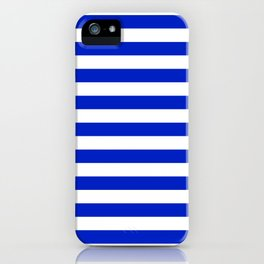 Cobalt Blue and White Horizontal Beach Hut Stripe iPhone Case