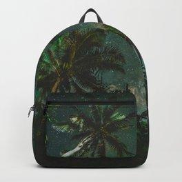 Tropical Palm Trees Night Star Sky Milky Way Carribean Night Sky Backpack