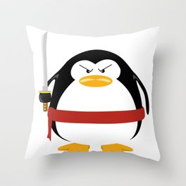 Ninja Penguin Throw Pillow