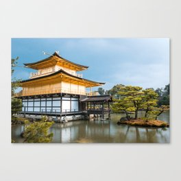 Gold Temple | Nature Travel Photography of Magnificent Golden Pavilion on Pond in Kyoto Japan Canvas Print