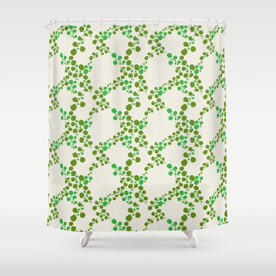 Retro leaves-olive Shower Curtain