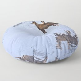 Chamois in the snow  Floor Pillow