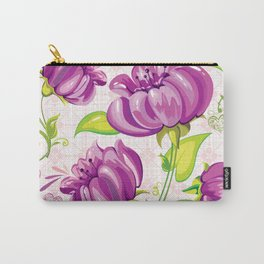 Purple Floral Wallpaper Abstract Design Carry-All Pouch