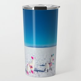 Llamas looking into the distance on the Salt Flats, Bolivia Travel Mug