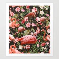 Floral and Flemingo Pattern Art Print