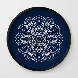 Navy Blue and White Flower Mandala Wall Clock