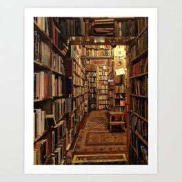 Warm & cozy bookshop in Scotland Art Print