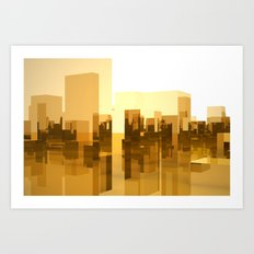 abstract gold city Art Print