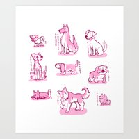 puppies Art Prints featuring Puppies by tomowowo