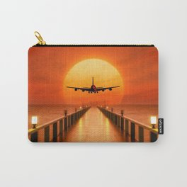 Beautiful Candle Lit Pier And Plane Flying Off Into The Sunset Ultra HD Carry-All Pouch