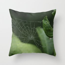 Spiderweb in the rain Throw Pillow