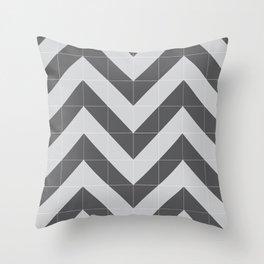 Grey Tiled Chevron Throw Pillow