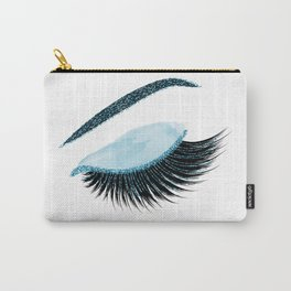 Glittery blue lashes illustration Carry-All Pouch