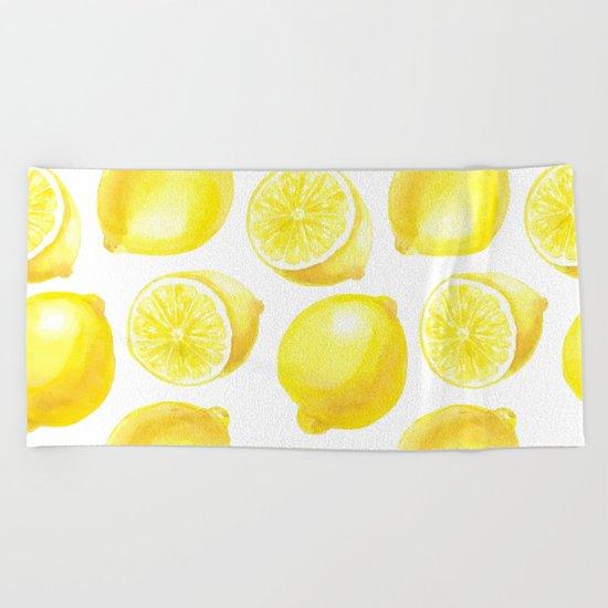 Lemons pattern design Beach Towel