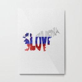 Slovenija / Slovenia Typographic Flag / Map Art Metal Print