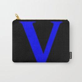 V MONOGRAM (BLUE & BLACK) Carry-All Pouch