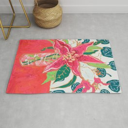 Pink and White Lily Bouquet with Matisse Wallpaper Rug