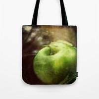 apple Tote Bags featuring Apple  by Bella Blue Photography